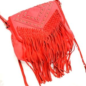 Deena and ozzy leather crossbody fringe stud bag